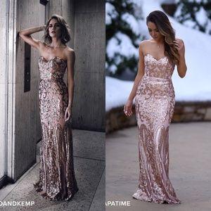 Lulu's Rebecca Rose Gold Strapless Sequin Dress